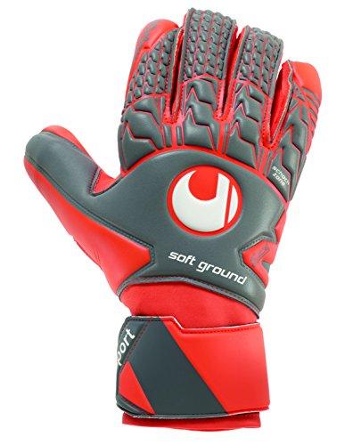uhlsport Torwarthandschuhe AERORED-Soft HN-In den Größen 5-11 Innenhand Keeper-Handschuhe entwickelt mit Profis-Optimaler Halt und Grip, langlebig, Dark grau/Fluo rot/Weiß, 7