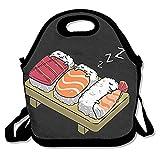 ZMvise Sleeping Cute Sushi Cat Lunch Tote aislado almuerzo picnic bolsas reutilizables de cajas hombres mujeres niños Toddler enfermeras Travel bag
