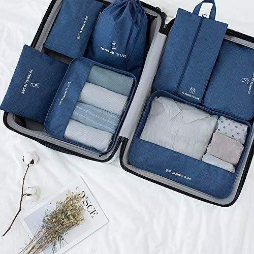 7 PCS Cubos de Embalaje para Maleta Viaje Organizadores de Embalaje Esenciales Set Tela Impermeable Organizador de Equipaje de Viaje Ropa Zapatos Artículos de Aseo Bolsas de Almacenamiento,