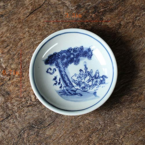KGDC Seasoning Dish Jingdezhen Chinese Style Retro Blue And White Porcelain Plate Hand-painted Dessert Snack Small Dish Underglaze Dessert Plate Snack Serving Dishes (Color : B)