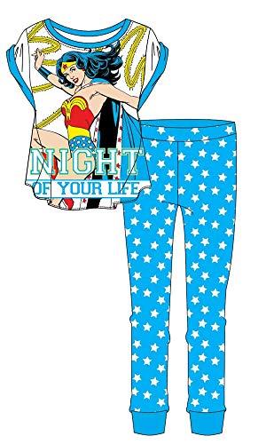 Pyjama-Set für Damen und Mädchen, PJ Minnie Maus, Tatty Teddy, Wonder Women, I-Aah, Avengers, My Little Pony, Ariel Designs – Größe 36-50 Gr. 36, Wonder Woman 'Night' blau/weiß