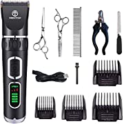 WenTop Dog Clippers 3-Speed Dog Grooming Clippers Kit USB Charge Dog Hair Clippers Low Noise Pet Clippers for Small Medium Large Dogs Pets