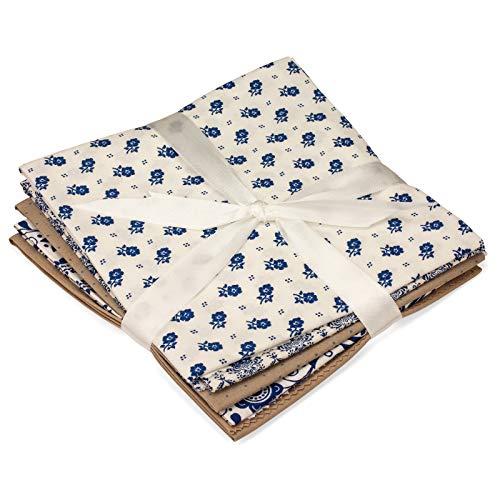 Faden & Nadel 5 Patchwork Stoffe aus 100% Baumwolle, 48 x 50 cm, Verschiedene Motive & Farben, farblich abgestimmt (Blau 03)
