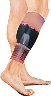 Stretch Sport Calf Sleeve Fountain Protective Guard for Men Women - Best Footless Compression Socks for Shin Splints,Running,Basketball Football (1 Pair)