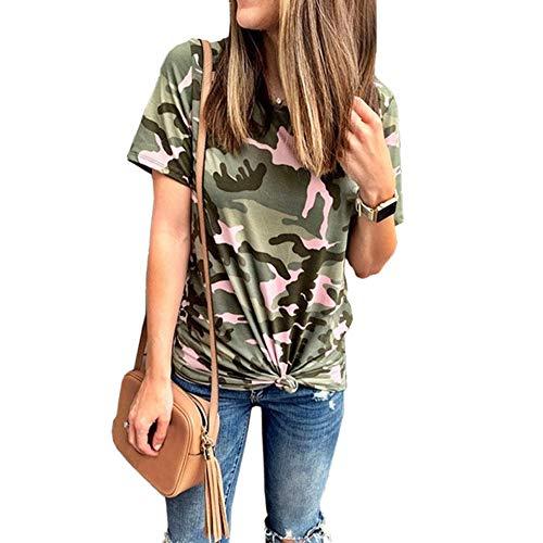 anYanZiBaiH T-Shirt Manica Corta Mimetica Donna Girocollo