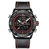 NAVIFORCE Mens Waterproof Sport Watches Leather Digital Analog Watch Luxury Casual Dual Time...