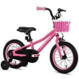 JOYSTAR 14 Inch Kids Bike with Training Wheels for 3 4 5 Years Old Boys, Toddler Cycle for Early Rider, Child Pedal Bike, Pink
