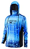 Performance Fishing Hoodie with Face Mask Sunblock Shirt Hooded Long Sleeve with Drawstrings Pocket,Blue, Large