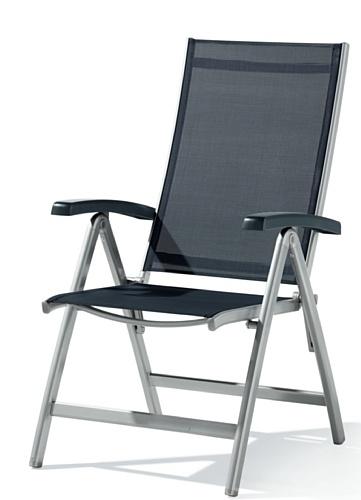 Sieger 945/A-G Klappsessel Bodega, Aluminium, Vollkunststoff und Textilux-Gewebe, graphit-grau