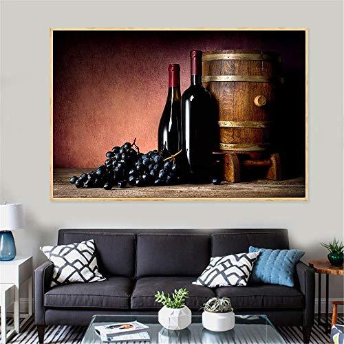 QianLei wijnschilderij sap druif wijnglazen drankjes bier vat keuken decor champagne moderne print woonkamer decoratie maison 40x60 cm niet-ingelijst