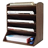 TQVAI Bamboo 5 Tier File Rack Holder Desktop Workspace File Supplies Storage Letter Organizer, Retro Brown