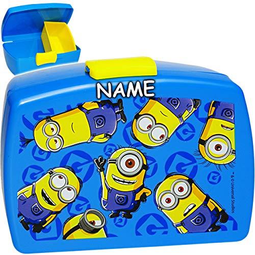 alles-meine.de GmbH Lunchbox / Brotdose -  Minions - ich einfach unverbesserlich  - inkl. Name - BPA frei - mit extra Einsatz / herausnehmbaren Fach - Brotbüchse Küche Essen - ..