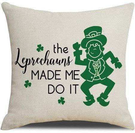 ArthuereBack St. Patricks Day kussensloop Die Leprechauns hebben mij ertoe gebracht het geluk van de Ierse grote decoratie voor hoekbanken, banken, bed te doen