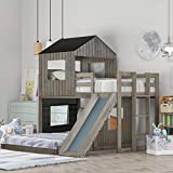 Harper & Bright Designs House Bed Bunk Beds with Slide, Wood Bunk Beds with Roof and Guard Rail for Kids, Toddlers, No Box Spring Needed (Antique Grey (Slide), Twin Over Full)
