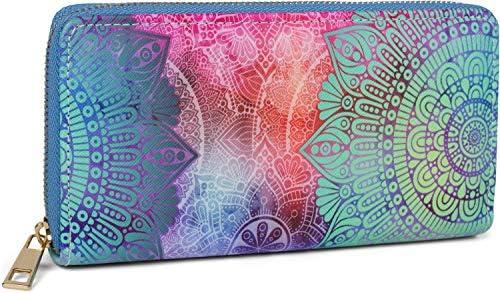 styleBREAKER Billetera para Damas con Adornos de Cachemira, Estilo Mandala, Cremallera, Cartera 02040145, Color:Aquagreen-Púrpura-Rosa