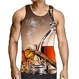 Hiser sans Manches Homme Débardeur, Respirant 3D Imprimé Muscle Tank Top, T-Shirt Sleeveless Débardeurs pour Homme Garçon Workout Musculation Exercising (Marron,3XL)