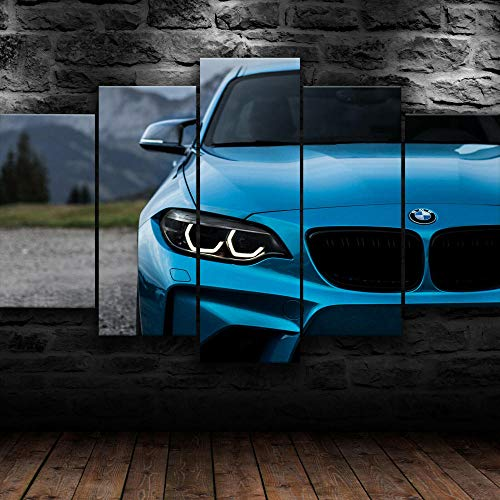 Leinwand Wandbild 5 Teilig Leinwand Bilder M2 Front Blue Super Car Wandkunst Wohnkultur Hd Druck 5 Stück Poster Modern Rahmenlos Wohnzimmer Dekoration Geschenk Gesamtgröße: (H-80 cm x M/B-150 cm)