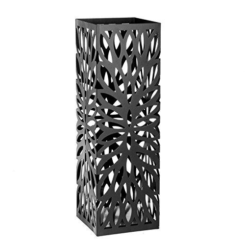 Paragüero diseño moderno metal 15,50 x 15,50 x 49 cm blanco y gris. (Gris)