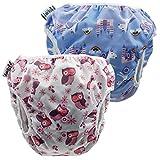 fakiku Pañales de natación con contenido, 0 – 36, ajustables y lavables y reutilizables, para piscina y mar, 2 unidades en paquete Violeta rosa. Talla única