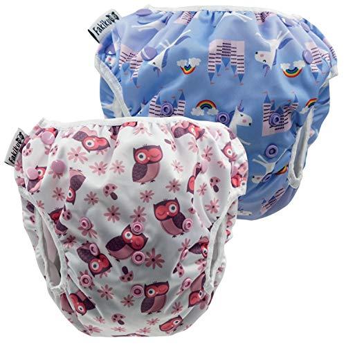 Fakiku Costume de Bain à Couches pour Bébé 0-36 Ajustable Costume de Piscine Ensemble de Maillots de Bain Réutilisables Lavables en Mer pour Bébé Fille