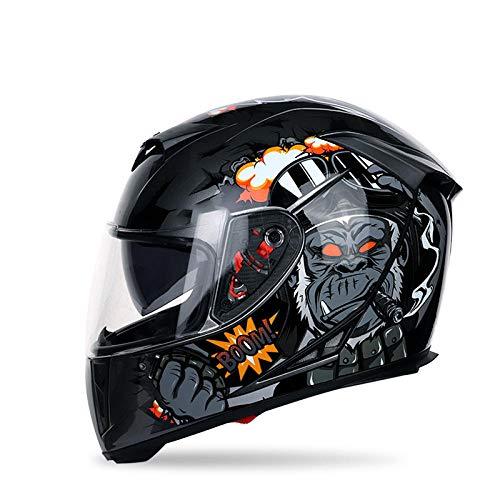 KYLong Casque de Moto mâle Hiver Couverture complète Moto Moto Double Objectif Casque Casque Complet Casque de sécurité-King Kong (Jaune) _XXL