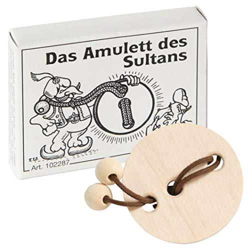 Bartl 102287 Mini-houten puzzel, het amulet van de Sultans van een klein amulet, een koord met 2 houten ballen