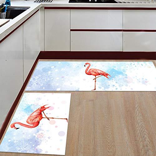 BestLives Kitchen Rug Set of 2 Piece, Retro Tropical Flamingo Floor Mats Non-Slip Area Runner Carpet Washable Indoor Doormat Pad Sets, Watercolor Splash 19.7x31.5in+19.7x63in