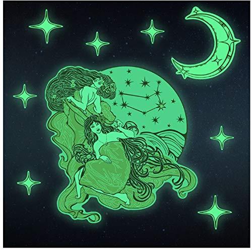 Gemini Resplandor Pegatinas De Pared Bricolaje Luna Estrellas Brillan Constelación Oscura Hogar Decoración De La Habitación De Los Niños