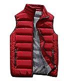 Uomo Inverno Tinta Unita Leggero Casual Giubbino Senza Maniche Giacca Piuma Vestiti Panciotto Smanicato Caldo Gilet Cappotto Rosso L