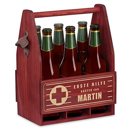 Murrano Bierträger für 6 Flaschen 0,5L + Gravur - Männerhandtasche mit Flaschenöffner - Größe: 25x17x32cm - aus Holz - Geschenk für Männer zum Geburtstag - Erste-Hilfe-Kasten