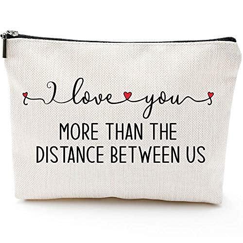 Regalos de relaciones de larga distancia – Going Away Parejas para él o ella – I Love You More Than The Distance Between Us– Regalos para el Día de la Madre para Mamá, Abuela, Tía, Maquillaje