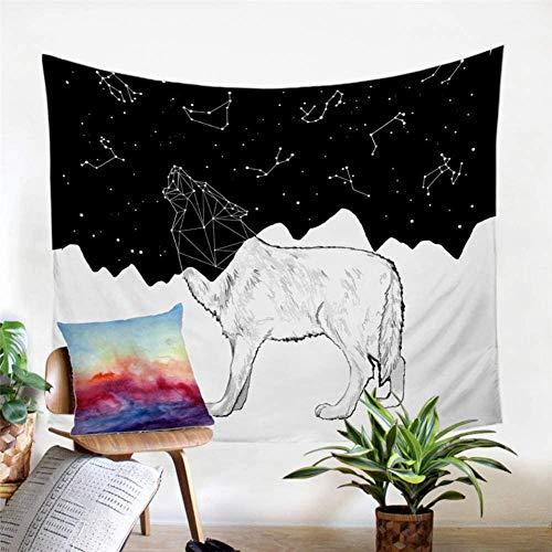 kjbfkghj Tapiz,Ropa de Cama Lobo Decoración de Sala Manta de Pared Líneas de constelación Colgante de Pared Alfombra de Pared Blanca Negra Decoración de Pared -39x59 Pulgadas (100x150cm)
