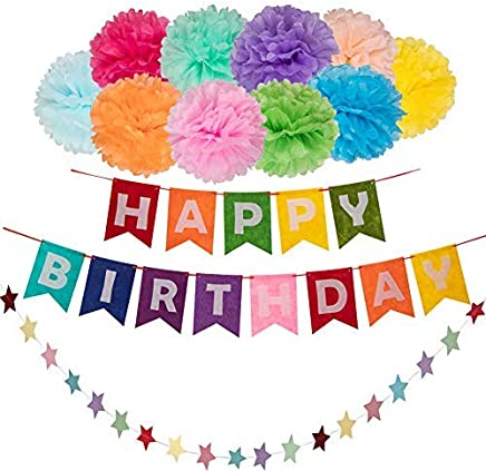 12PC Rainbow Happy Birthday Banner Colorful Tissue Paper Pom Poms And Star Garland For Childrens