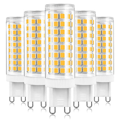 ALASON G9 LED Bulbs, 10W Equivalent to 80W 100W Halogen Bulbs, G9 Capsule Lamps for Crystal Ceiling Lights, G9 Socket Led Lamp, 1000LM, No Flicker, Dimmable, 5 Pack