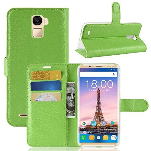 Oukitel K5000 Wallet Tasche Hülle,TenYll PU Schutzhülle [Premium Leder] [Ultra Slim] [Card Slot] [Ständer] Flip Wallet Hülle Etui für Oukitel K5000 -Grün