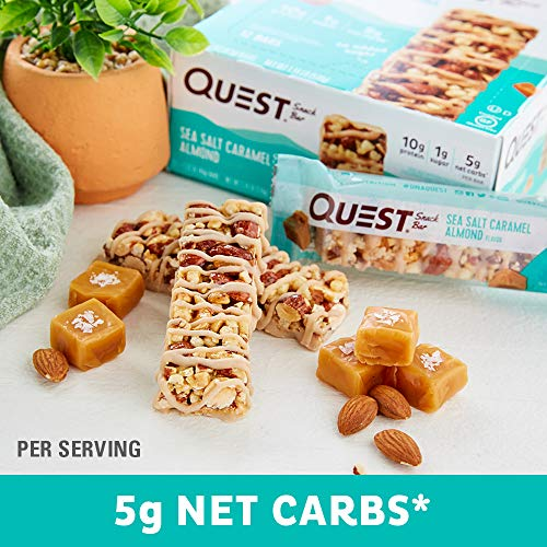 Quest Nutrition Sea Salt Caramel Almond Snack Bar, High Protein, Low Carb, Gluten Free, Keto Friendly, 12-Count