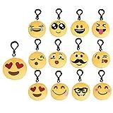VOARGE Llavero con diseño de emoji, 12 llaveros de peluche, 6 cm, juguete de peluche, regalo para niños, mochila, colgante, fiesta, decoración, juguete para niños