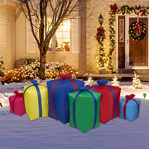 Kinsunny 6 Ft Christmas Inflatables Gift Boxes Yard Decoration Air Blown Lights Holiday Decorations Home Indoor Outdoor Yard Lawn