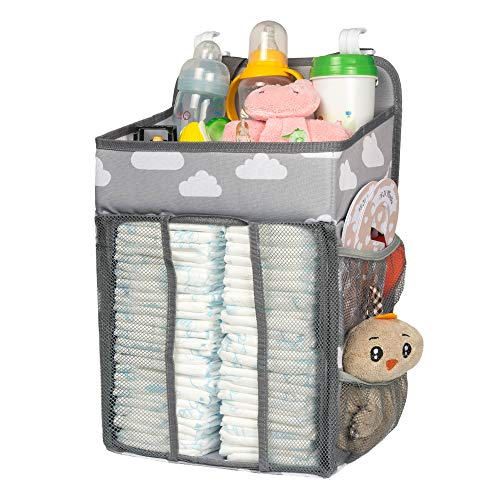 Selbor Baby Nursery Organizer and Diaper Caddy, Hanging Diaper Stacker Storage for Changing Table, Crib, Playard Wall for Newborn Boys Girls (Star Elephant, Bottle Cooler Included)