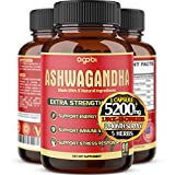 Ashwagandha Capsules, 5 in 1 Equivalent to 5200mg Powder. Combined With Turmeric, Ginger, Black Pepper And Rhodiola. Mood And Strength Support Supplement - 1 Pack - 90 Capsules - 3 Month Supply