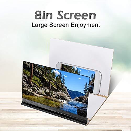ASHATA mobiele telefoon scherm vergroter, 8in telefoon scherm versterker met duidelijke foto's geen visuele vermoeidheid, Smartphone vergrootglas/film video scherm versterker stand, Blauw