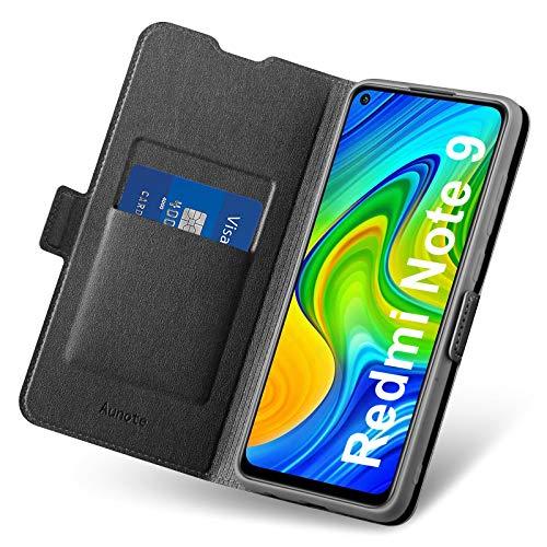 Aunote Hülle für Xiaomi Redmi Note 9, Handyhülle Redmi Note 9, Redmi Note 9 Hülle Kartenfach, Klapphülle Redmi Note 9, Schutzhülle Redmi Note 9, Tasche Leder Etui Folio, Flip Phone Cover Hülle.Schwarz