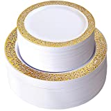 """Disposable Plastic Plates - 102 pcs with 51 Dinner Plates 10.25"""" and 51 Salads or Desert/Appetizer Plates 7.25'' Lace Rim for Christmas, Cocktail, Dinners, Weddings, Party and Holidays"""