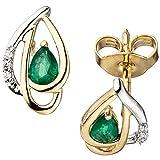 6 paia di orecchini a perno con diamanti brillanti verdi smeraldi a forma di goccia 585 oro
