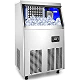 VEVOR 110V Commercial Ice Maker 120-130LBS/24H with 33LBS Bin, Full Heavy Duty Stainless Steel Construction, Automatic Operation, Clear Cube for Home Bar, Include Water Filter, Scoop, Connection Hose