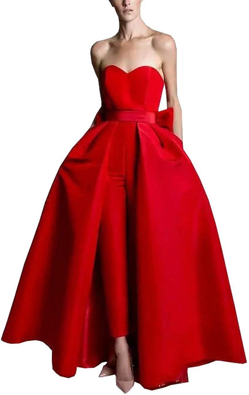 Women Jumpsuit with Train Evening Formal Dresses 2 Pieces Wedding Guest Dress Long 2020