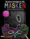 Kreative Kratzkunst XXL: Masken: Set mit 10 Kratz-Masken, Anleitungsbuch und Holzstift: 10 Kinder-Masken ideal für Fasching, Karneval, Verkleiden und Kindergeburtstag