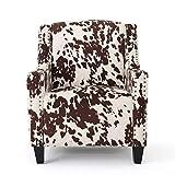 Christopher Knight Home Elysabeth Studded Velvet Club Chair, Milk Cow / Dark Brown