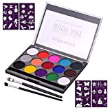 Aibecy Professional Body Art Face Painting Kit Water Based Removable Body Paints 15 Colors Palette with 2 Paintbrushes and 4 Templates for Halloween Costume Makeup Themed Party Supplies