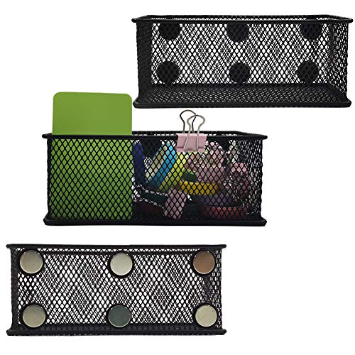 EASEPRES Magnetic Pencil Holder Set of 3 - Black Wire Mesh Storage Baskets Organizer with Strong Magnets - Perfect for Whiteboard Refrigerator and Locker Accessories